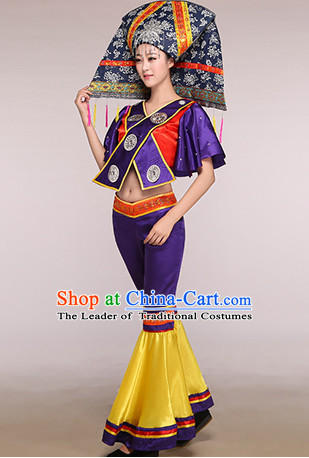 Chinese Folk Ethnic Competition Fan Dance Costume Group Dancing Costumes for Women