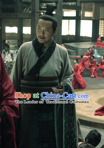 Chinese Ancient Government Official Prime Minister Costume Clothes Complete Set for Men