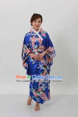 Japanese Traditional Kimono Costumes Women Dress COSPLAY Japanese Traditional Garment Wedding Dress Ceremonial Wafuku Stage Show Blue