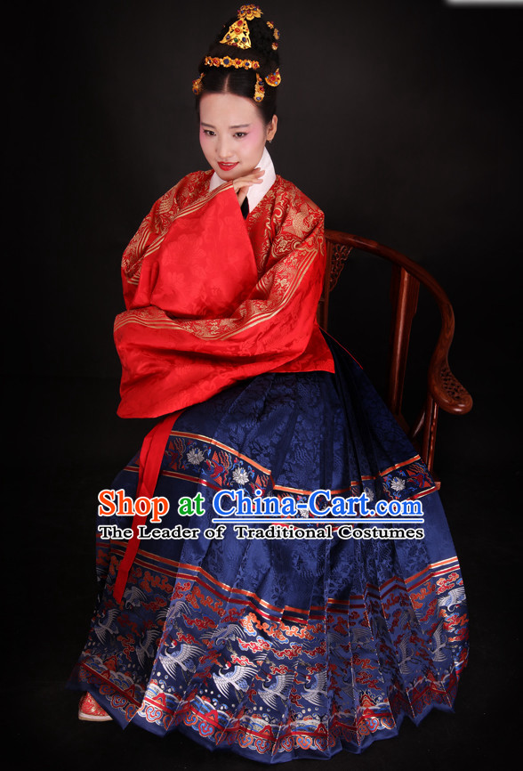 Chinese Style Dresses Kimono Dress Song Dynasty Outfits and Hat Complete Set for Women