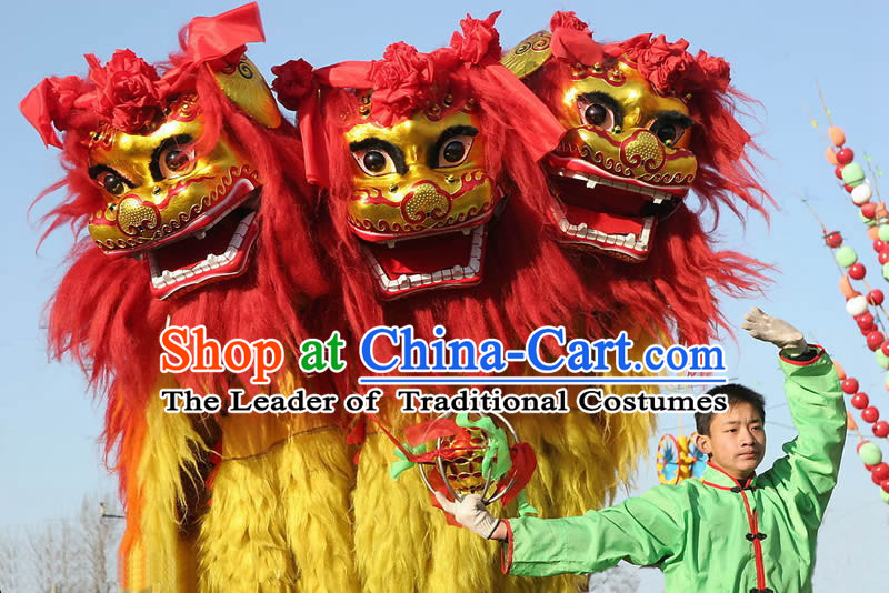 Chinese Traditional Hebei Province Northern Lion Dancing Costume Complete Set