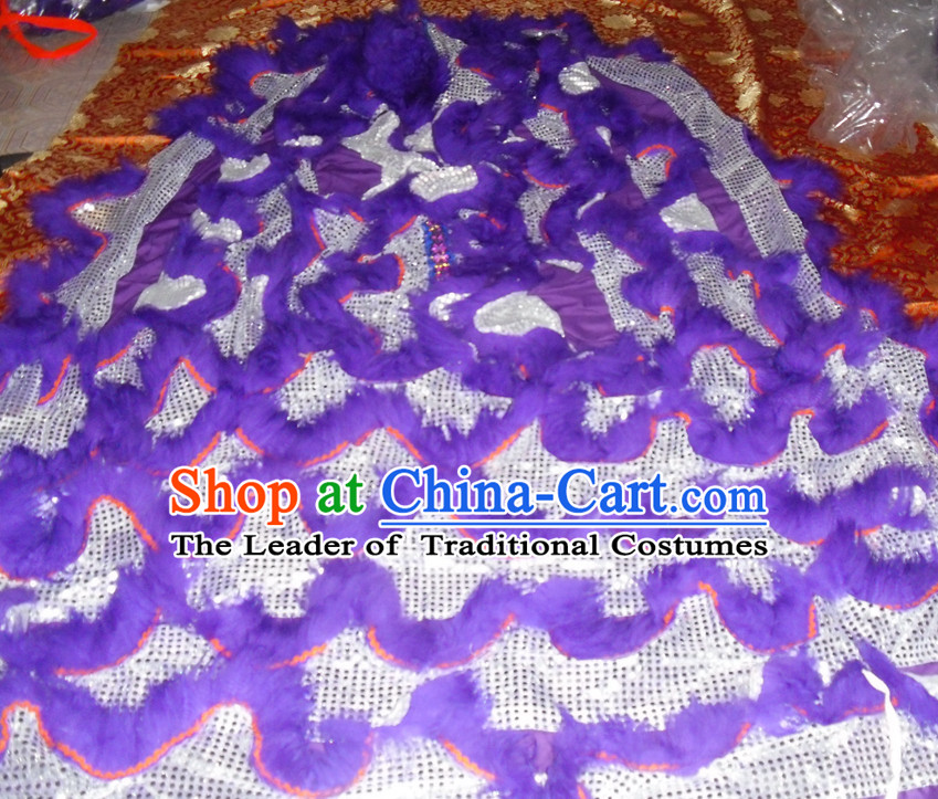 Purple Top Asian Chinese Lion Dance Troupe Performance Suppliers Pants Equipments Art Instruments Lion Tail Costume