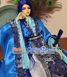 Blue Ancient Chinese Prince Clothing Han Fu National Costumes Complete Set for Men