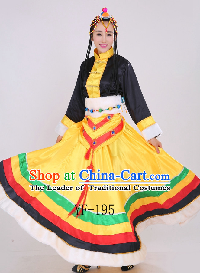 Chinese Minority Dance Dress China Fan Dance Costume Ribbon Dance Costumes Folk Dance Suit