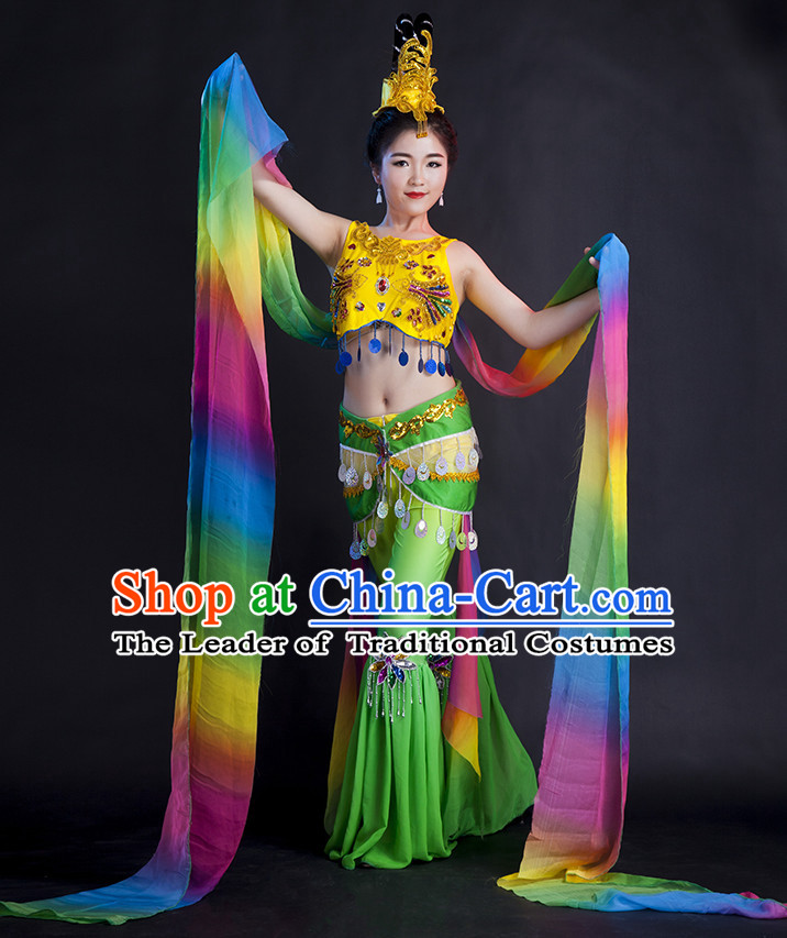 Chinese Women Fairy Dance Dress China Feitian Fan Dance Costume Ribbon Dance Costumes Folk Dance Suit