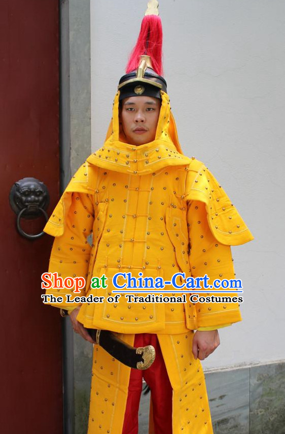 Yellow Chinese Qing Dynasty General White Armor Hanfu Dress Gown Costumes Ancient Costume Clothing Complete Set