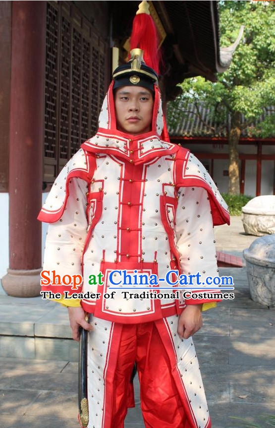 Chinese Qing Dynasty General White Armor Hanfu Dress Gown Costumes Ancient Costume Clothing Complete Set
