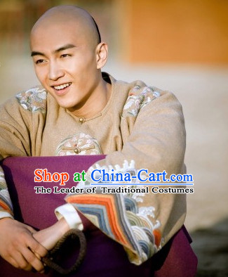 Qing Dynasty Chinese Royal Prince Dresses Hanfu Classical Dress National Ceremonial Costumes Clothing and Wig Complete Set