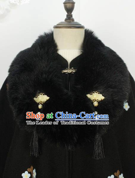 Traditional Classic Women Clothing, Traditional Chinese Classic Hanfu Fur Collar Shawl for Women