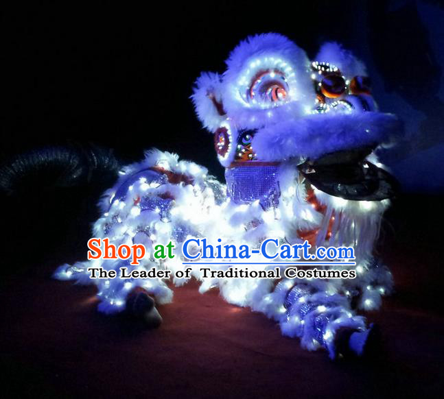 World Lion Dance Competition Red Fur Hoksan Lion Head Adult Size Costumes Complete Set, Led Light Lion Dance Costume for Men