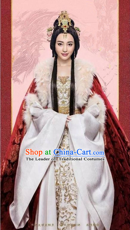 Traditional Chinese Ancient Imperial Emperess Concubine Costumes, Ancient Chinese Cosplay Queen Costume and Hair Accessories Complete Set for Women
