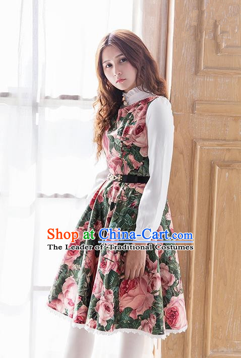 Traditional Classic Elegant Women Costume Satin One-Piece Dress, Restoring Ancient Princess Jumper Skirt for Women