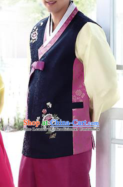 Traditional Korean Costumes Bridegroom Formal Attire Ceremonial Navy Cloth, Asian Korea Hanbok Embroidered Clothing for Men