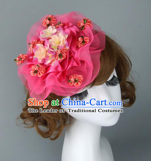 Asian China Exaggerate Wedding Hair Accessories Model Show Pink Hat, Halloween Ceremonial Occasions Miami Deluxe Headwear