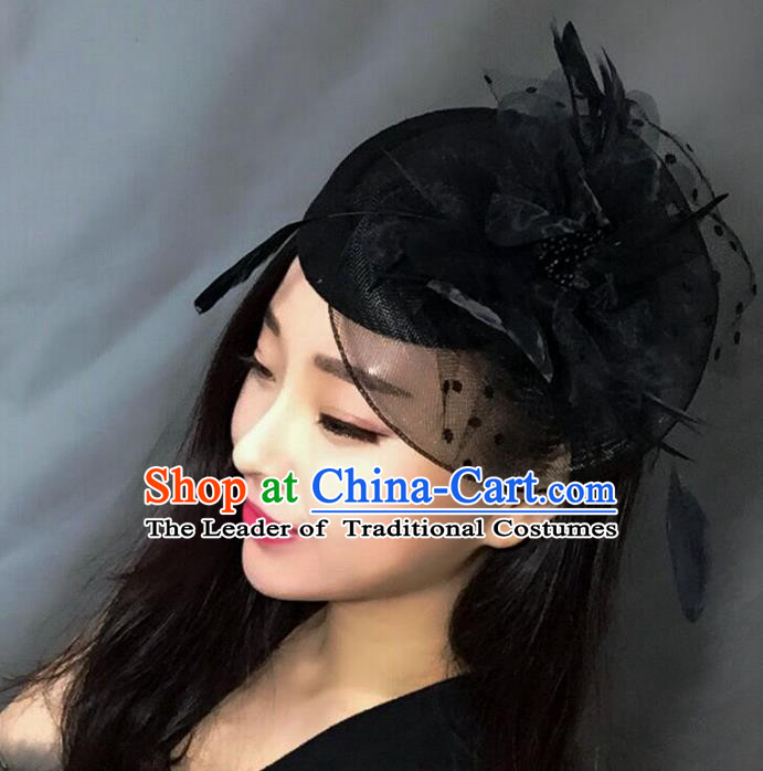 Handmade Exaggerate Wedding Hair Accessories Black Feather Top Hat, Bride Ceremonial Occasions Vintage Headwear