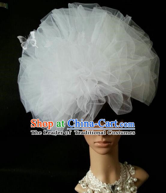 Handmade Baroque Wedding Hair Accessories White Veil Headwear, Bride Ceremonial Occasions Vintage Hair Clasp for Women
