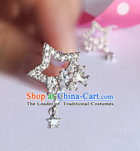 Handmade Wedding Accessories Crystal Earrings, Gothic Bride Ceremonial Occasions Star Eardrop for Women