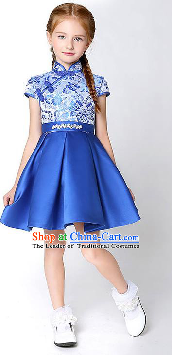 Children Model Dance Costume Compere China Blue Cheongsam, Ceremonial Occasions Catwalks Princess Embroidery Dress for Girls