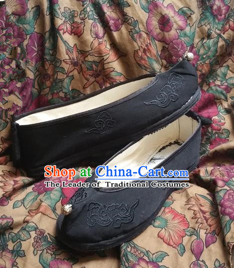 Asian Chinese Shoes Wedding Shoes Black Monk Shoes, Traditional China Opera Shoes Hanfu Shoes Embroidered Shoes