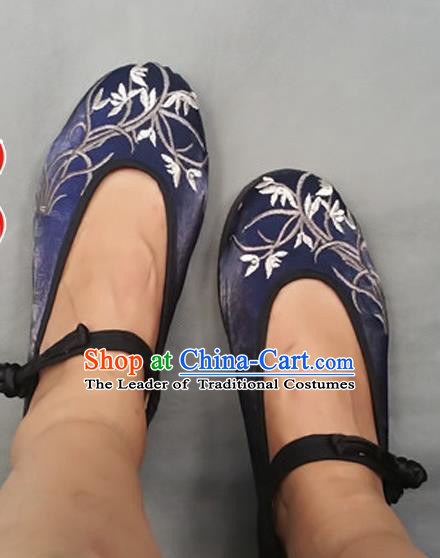 Asian Chinese Shoes Wedding Shoes Embroidered Navy Shoes, Traditional China Princess Shoes Hanfu Shoes Embroidered Shoes