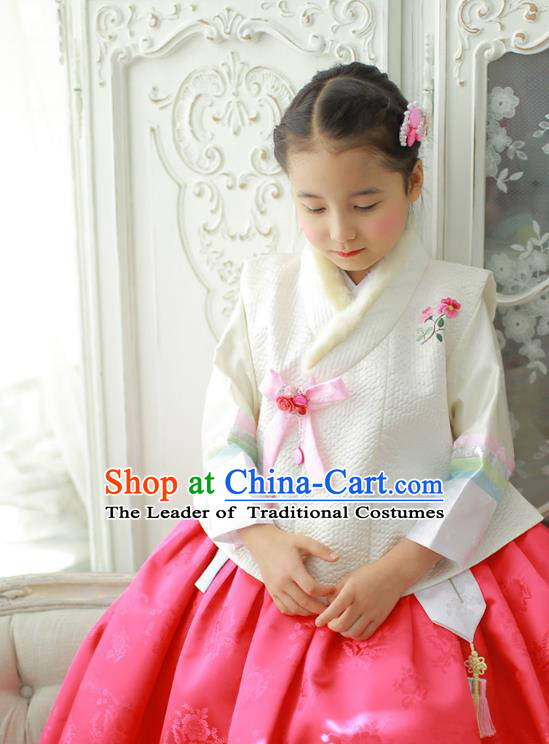 Traditional Korean Costumes Bride Formal Attire Ceremonial Pink Dress, Korea Hanbok Court Embroidered Clothing for Kids