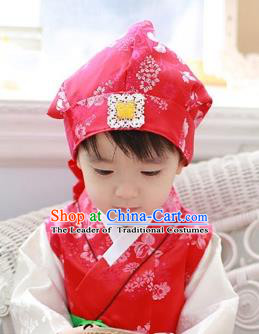 Traditional Korean Hair Accessories Red Baby Hats, Asian Korean Fashion National Boys Headwear for Kids