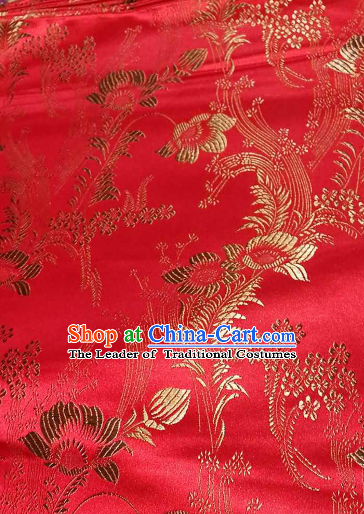 35\u201cwidth 4 colors  chinese retro tranditional  little red flower tapestry satin  brocade  fabric for clothes doll stage  by yard