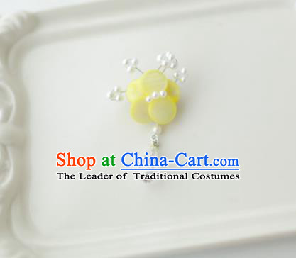 Korean National Accessories Girls Yellow Begonia Brooch, Asian Korean Hanbok Fashion Bride Breastpin for Kids