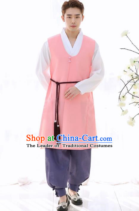 25dec006f9 Asian Korean National Traditional Formal Occasions Wedding Bridegroom  Embroidery Pink Long Vest Hanbok Costume Complete Set for Men