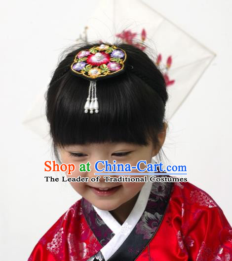 Traditional Korean Hair Accessories, Asian Korean Fashion Headwear Embroidered Hair Clasp for Kids