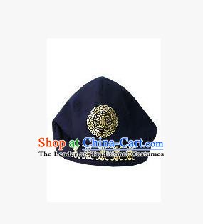 Traditional Korean Hair Accessories Embroidered Navy Hats, Asian Korean Fashion National Boys Headwear for Kids