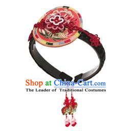 Traditional Korean Hair Accessories Embroidered Hair Clasp, Asian Korean Fashion Wedding Headband for Kids