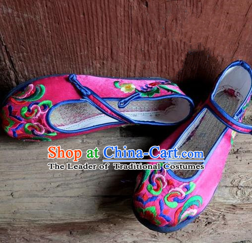 Traditional Chinese Ancient Princess Rosy Cloth Shoes Embroidered Shoes, China Handmade Embroidery Hanfu Shoes for Women