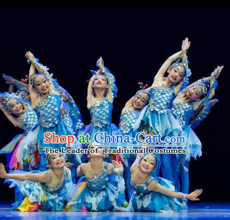 045fd19050a7 Traditional Chinese Modern Fish Dance Costume, Folk Dance Drum Dance Blue  Uniform Yangko Clothing for