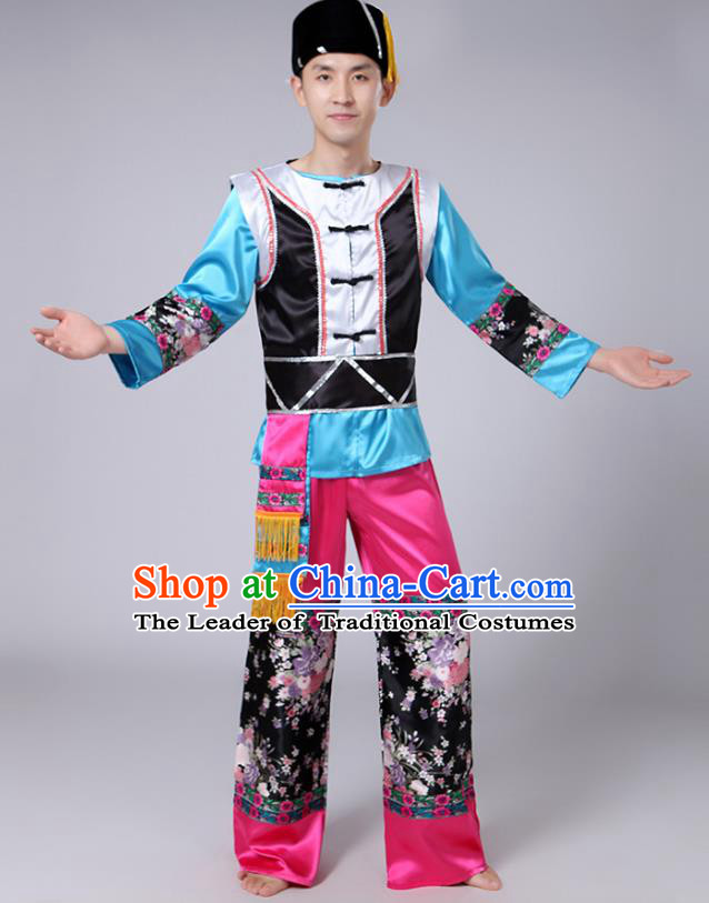 Traditional Chinese Yi Nationality Dance Costume, Hmong Folk Dance Minority Embroidery Clothing for Men