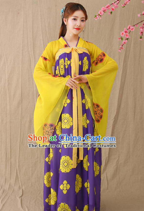 2759f1590 Traditional Chinese Tang Dynasty Princess Fairy Costume, China Ancient  Palace Lady Hanfu Clothing for Women