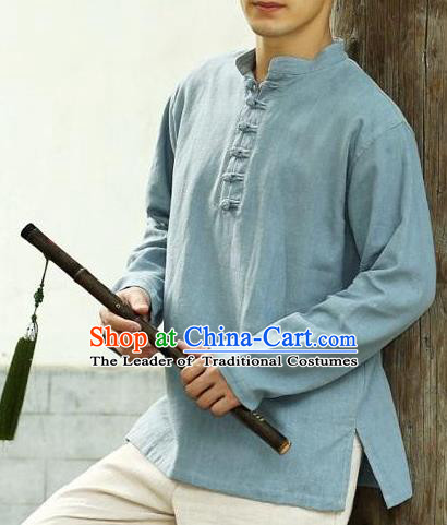 Mens Shirts Traditional Chinese Kung Fu Shirt Half Sleeve Linen Tang Suit Blouse