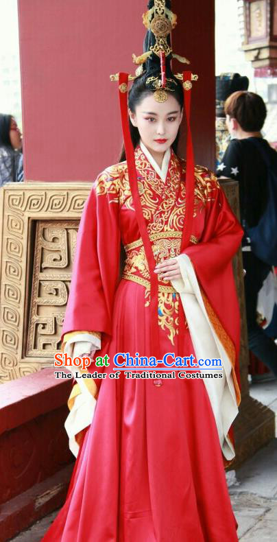 Traditional Ancient Chinese Imperial Empress Wedding Costume, Elegant Hanfu Bride Red Dress Chinese Han Dynasty Imperial Queen Tailing Embroidered Clothing for Women