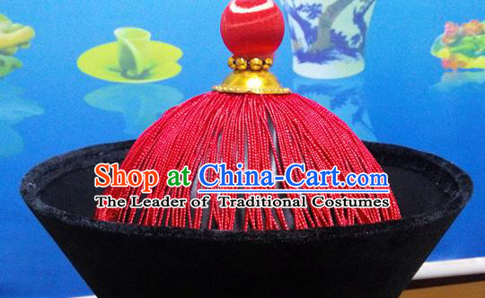 Traditional Chinese Ancient Costume Qing Dynasty Manchu Imperial Minister Headdress Qing Dynasty Officials Hat for Men