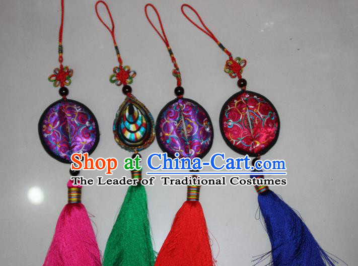 Traditional Chinese Miao Ethnic Minority Tassel Adornment Accessories, Hmong Handmade Pendant, Miao Ethnic Jewelry Accessories Pendant