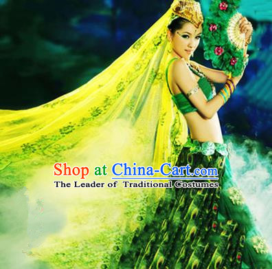 Traditional Ancient Indian Palace Sari Blue Peacock Costumes, Indian Young Lady Belly Dance Dress for Women