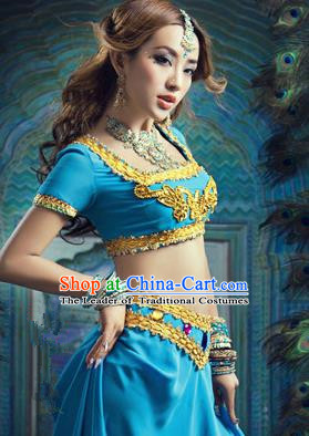 Traditional Ancient Indian Palace Sari Blue Costumes, Indian Young Lady Belly Dance Dress for Women