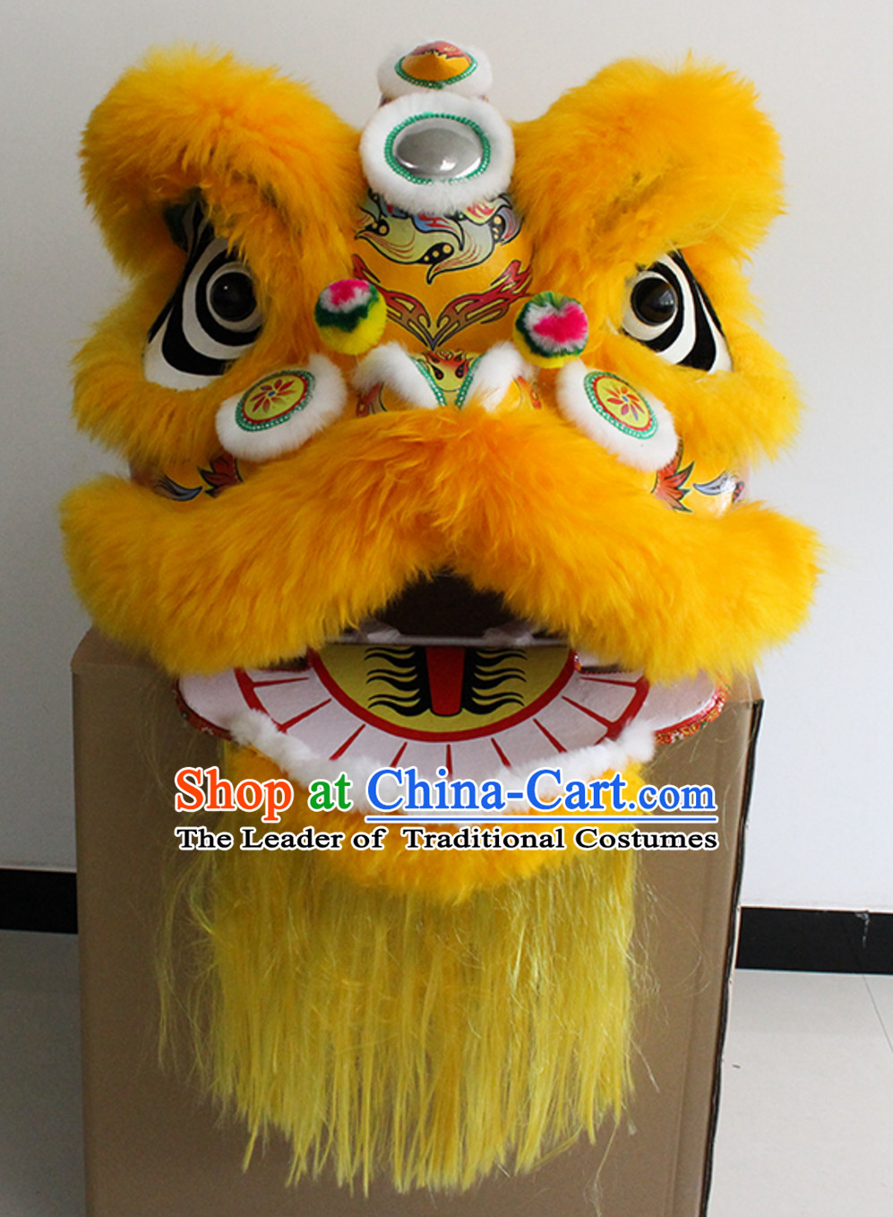 Yellow New 100_ Long Wool Lion Dance Costume Complete Set