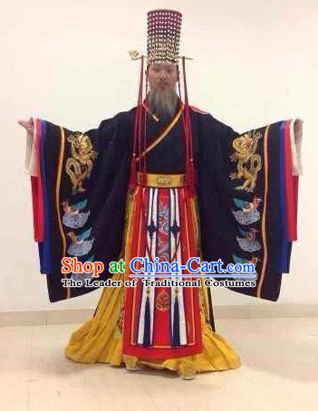 Traditional Ancient Chinese Imperial Emperor Costume, Chinese Qin Dynasty Qin Shi Huang Dress, Cosplay Chinese Majesty Qin Shi Huang Embroidered Clothing Hanfu Complete Set for Men