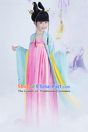 Traditional Chinese Princess Costume, Children Tang Dynasty Girl Dress, Chinese Tang Dynasty Costume for Kids