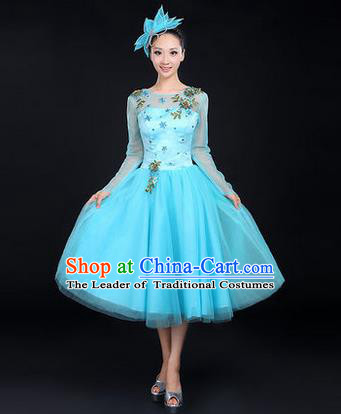 Traditional Chinese Modern Dancing Costume, Women Opening Dance Costume, Modern Dance Blue Bubble Dress for Women