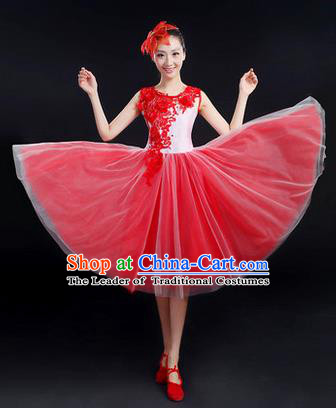 Traditional Chinese Modern Dancing Costume, Women Opening Classic Chorus Singing Group Dance Paillette Costume, Folk Dance Costume, Modern Dance Embroidered Dress for Women