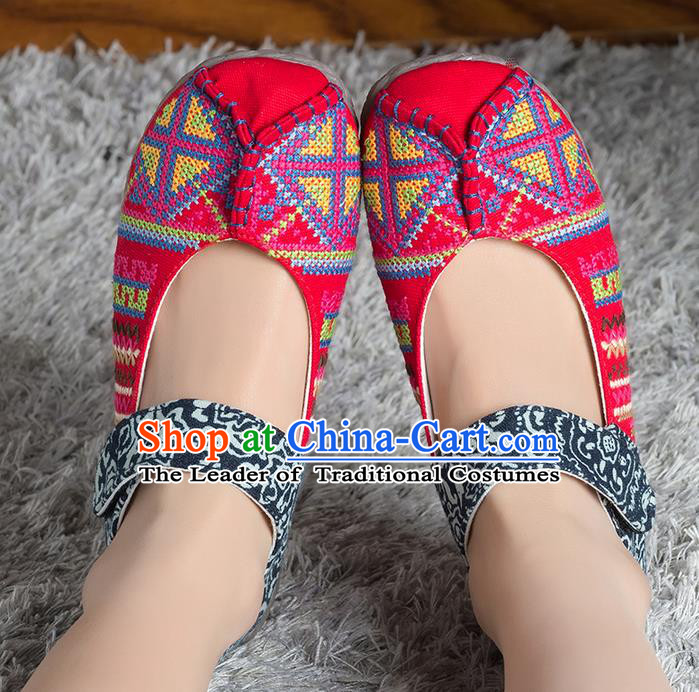 Traditional Chinese Shoes, China Handmade Linen Embroidered Pink Shoes, Ancient Princess Cloth Shoes for Women