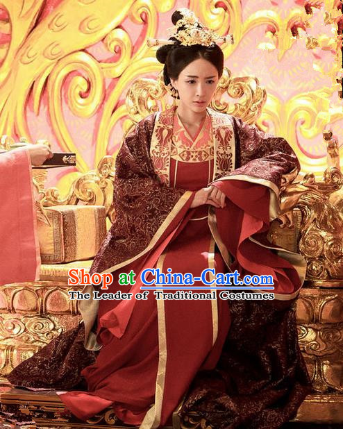 Traditional Chinese Ancient Imperial Empress Costume and Headpiece Complete Set, Chinese Northern and Southern Dynasties Television Tokgo World Queen Embroidered Hanfu Clothing for Women
