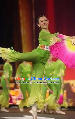 Traditional Chinese Classical Dance Costume, Women Yanko Dance Clothing, Umbrella Fan Dance Green Dress for Women